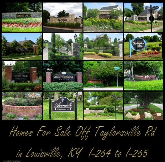 Homes For Sale off Taylorsville Rd Louisville KY in Zip Codes 40220 40299 From I-264 to I-265